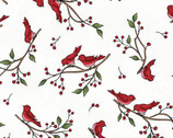 Frolic In The Snow FLANNEL - White Birds on Twig from Maywood Studios