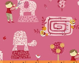 Meet the Royal Court - Topiary Pink by Jill McDonald from Windham Fabrics
