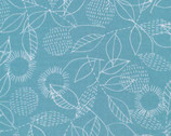 Threads DOUBLE GAUZE- Backstitch Blue by Eloise Renouf from Cloud 9 Fabrics