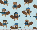 Burly Beavers - Beavers Denim Blue by Andie Hanna from Robert Kaufman