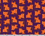Urban Zoologie Minis - Spooky Purple Orange Cats Ann Kelle from Robert Kaufman