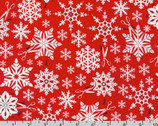 Swell Noel - Snowflakes Holiday Red by Cynthia Frenette from Robert Kaufman