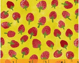 Flower Pedals - Strawberries Mustard Lime Organic Cotton by Carolyn Gavin of Ecojot from Windham Fabrics