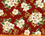 Christmas Tidings - Floral Cluster Red by Rosemarie Lavin from Windham Fabrics