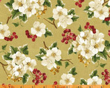 Christmas Tidings - Floral Cluster Gold with Metallic Accents by Rosemarie Lavin from Windham Fabrics