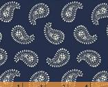 Ariana - Large Mono Paisley Navy by Williamsburg from Windham Fabrics