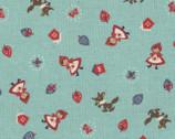 Red Riding Hood - Aqua Riding Hood - Canvas Linen Blend Fabric from Kokka