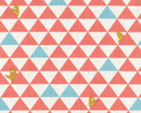 Triangle Bear - Coral Pink Aqua Canvas Linen Blend Fabric from Kokka