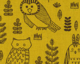 Owls - Mustard Yellow Canvas Linen Blend Fabric from Kokka