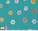 Melodies - Folk Floral Dot Aqua by Sarah Campbell from Michael Miller
