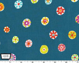 Melodies - Folk Floral Dot Teal by Sarah Campbell from Michael Miller