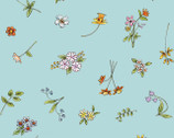 Cats in the Garden - Teal Aqua Floral Toss by Anita Jeram from Clothworks