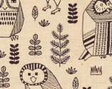 Owls - Natural Canvas Linen Blend Fabric from Kokka