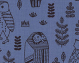 Owls - Royal Blue Canvas Linen Blend Fabric from Kokka