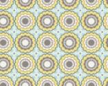 Joyful Garden - Flower Yellow Aqua from David Textiles
