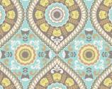 Joyful Garden - Medallion Aqua Yellow from David Textiles