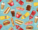 At The Diner - Fast Food Blue by Nancy Mink from Wilmington Prints