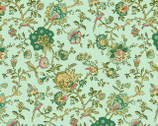Village Garden - Teal Bird Floral by Kaye England from Wilmington Prints