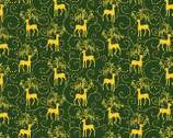 Golden Holiday - Green Reindeer with Metallic by Dover Hill from Benartex