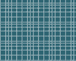 Summer Boy Sam - Dark Blue Teal Crossed Lines by Dover Hill from Benartex