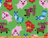 Farm - Animals Green by French Bull from Windham Fabrics
