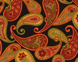 Autumn Abundance - Paisley Floral Black by Jennifer Brinley from Studio E