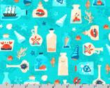 Seaside Treasures - Seashells Bottles Pacific by Pink Light Design from Robert Kaufman