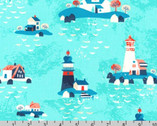 Seaside Treasures - Lighthouse Pacific Aqua by Pink Light Design from Robert Kaufman