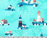 Seaside Treasures - Lighthouse Pacific Aqua by Pink Light Design from Robert Kaufman