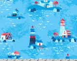 Seaside Treasures - Lighthouse Blue by Pink Light Design from Robert Kaufman
