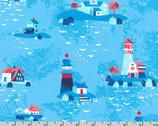Seaside Treasures - Lighthouse Blue by Pink Light Design from Robert Kaufman
