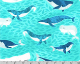 Seaside Treasures - Whales Pacific Aqua by Pink Light Design from Robert Kaufman
