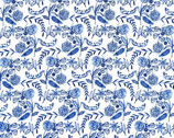Moody Blues - Floral White VOILE by Geninne from Cloud9 Fabrics