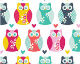 Owls and Hearts FLANNEL - Multi by Carly Griffith from Alpine Fabrics