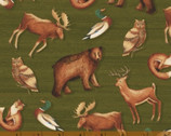 Wild Woods - Multi Brown Animals Tossed by Daphne B from Windham Fabrics