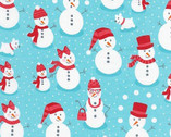 Polar Pals - Snowman Aqua Blue by Andie Hanna from Robert Kaufman
