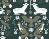 Folkwood - Emerald Animal Damask by Rae Ritchie from Dear Stella