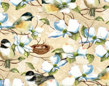 Feather Your Nest - Birds & Flowers Cream by Nancy Mink from Wilmington Prints