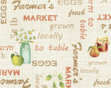 A Day on the Farm - Locally Grown Words Beige Cream from Red Rooster Fabrics