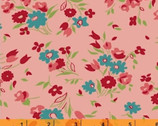 Dixie - Small Floral Coral Pink by Allison Harris from Windham Fabrics