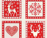 Scandi 4 - Squares Panel Red from Andover-Makower