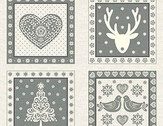Scandi 4 - Squares Panel Silver Gray from Andover-Makower