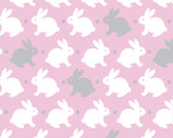 Flanneland Basics - Pink Bunnies FLANNEL from David Textiles