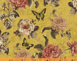Afternoon Tea - Floral Butterfly Mustard Yellow by Whistler Studios from Windham Fabrics