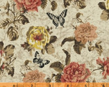 Afternoon Tea - Floral Butterfly Beige Cream by Whistler Studios from Windham Fabrics
