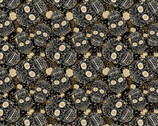 Sugar Skull & Bloom Charcoal Black from David Textiles