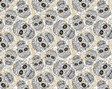 Sugar Skull & Bloom Cream from David Textiles