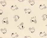 Cyururu Chocolate - Cats Cream Beige Metallic - OXFORD from Lecien