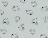 Cyururu Chocolate - Cats Light Blue Gray Metallic - OXFORD from Lecien