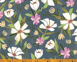 Blush and Blooms - White Flower Gray Blue by Iza Pearl Design  from Windham Fabrics